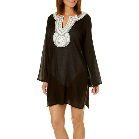 Studio West Womens Embroidered Tunic Cover-Up