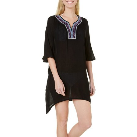 Studio West Embroidered Tunic Cover-Up