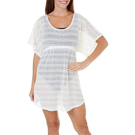 Pacific Beach Womens Geo Crochet Babydoll Cover-Up