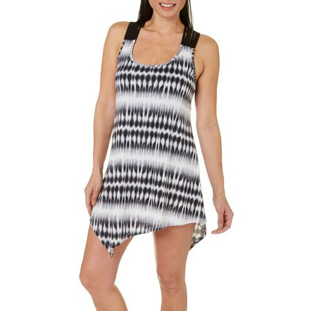 Pacific Beach Womens Tie Dye Macrame Cover-Up