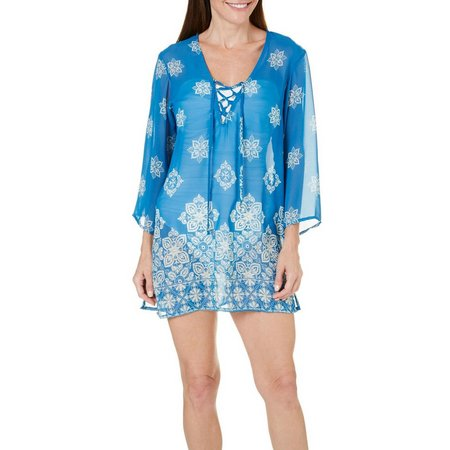 Pacific Beach Womens Floral Tile Tunic Cover-up