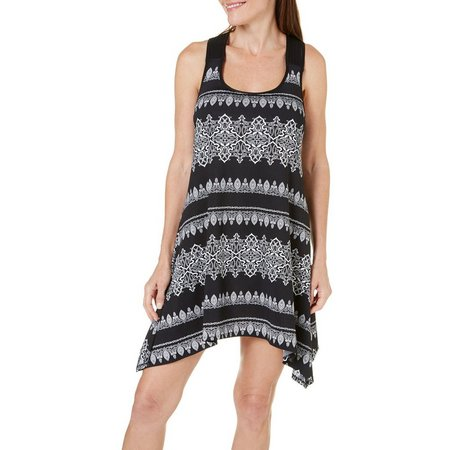 Pacific Beach Womens Medallion Tank Dress Cover-Up