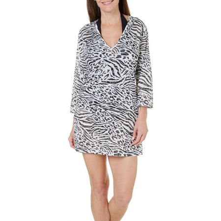 Pacific Beach Womens Animal Print Hooded Cover-Up