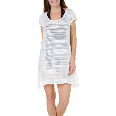 New! Pacific Beach Womens Crochet Stripe Dress Cover-Up