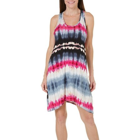 Pacific Beach Womens Tie Dye T-Back Tunic Cover-Up