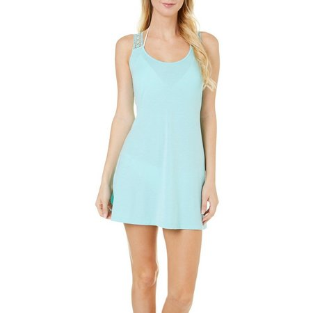Pacific Beach Women Crocet Racerback Tank Cover-Up