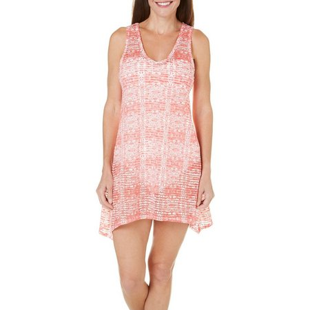 Pacific Beach Womens Wave Mesh Tank Cover-Up