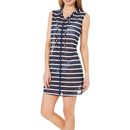 Pacific Beach Womens Nautical Zip Hoodie Sleeveless Cover-Up