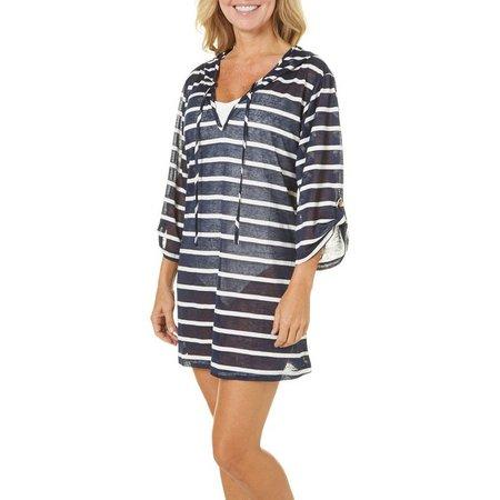 Pacific Beach Women Nautical Stripe Tunic Cover-Up