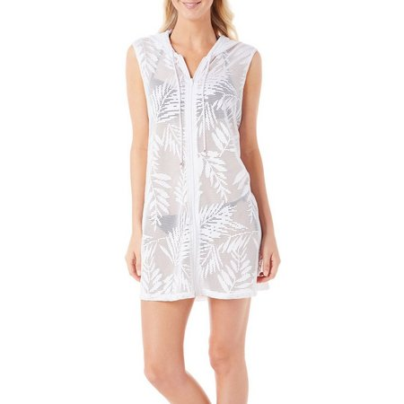 Pacific Beach Womens Palm Burnout Crochet Cover-Up