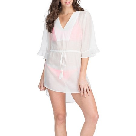 Hawaiian Tropic Womens Cinch Waist Tunic Cover-Up