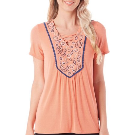 Dept 222 Womens Deep Sea Paisley Embroidered Top