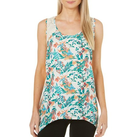 Dept 222 Womens Sunset Delight Tropical Floral Tank