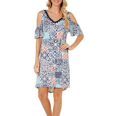 Dept 222 Womens Cold Shoulder Patchwork Dress