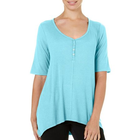 Dept 222 Womens Solid Ribbed Henley Top