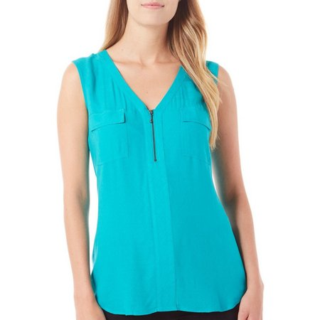 Dept 222 Womens Cabana Nights Zip Front Tank