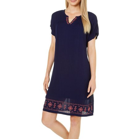 Dept 222 Womens Sunset Delight Embroidered Gauze Dress