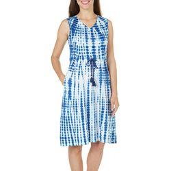 Paradise Shores Womens Tie Dye V-neck Dress