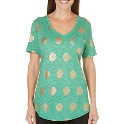 Paradise Shores Womens Foil Leaves T-Shirt