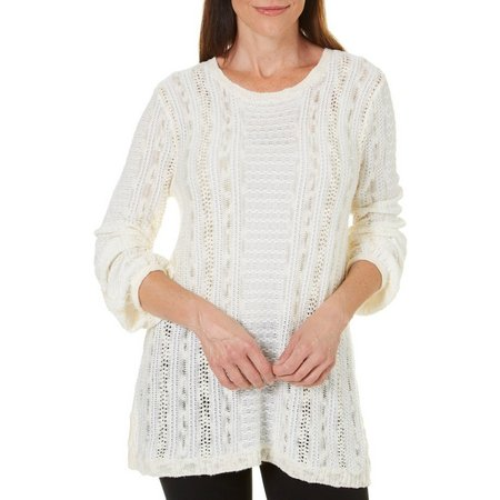Paradise Shores Womens Crew Neck Open Knit Sweater