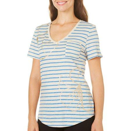 Paradise Shores Womens Floral Stripe Pocket T-Shirt