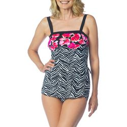 Maxine Womens Zebra Garden Sarong Bandeau Swimsuit