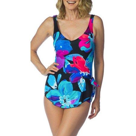 Maxine Womens Flourish Wide Strap Sarong Swimsuit