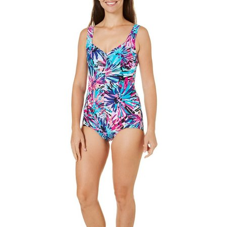 Maxine Womens Spin Art Girl Leg One Piece