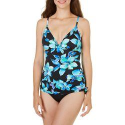 Caribbean Joe Womens Martinique Shirred Swimsuit