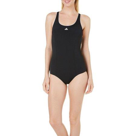 Adidas Womens Aqua Sport Piped One Piece Swimsuit