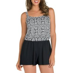 Paradise Bay Womens Diamond Romper Swimsuit