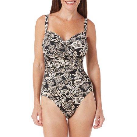 Paradise Bay Womens Mystique Surplice Swimsuit