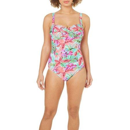 Beach Diva Womens Fauna Molded One Piece Swimsuit