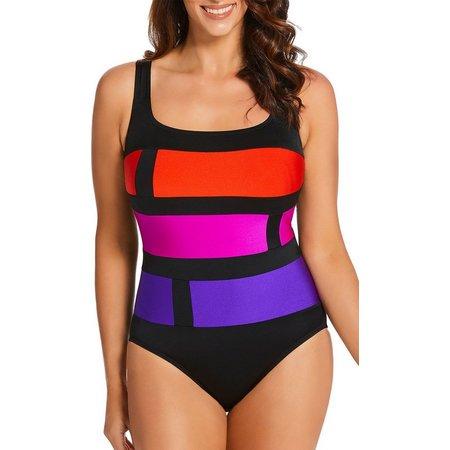Longitude Womens Block Print One Piece Swimsuit
