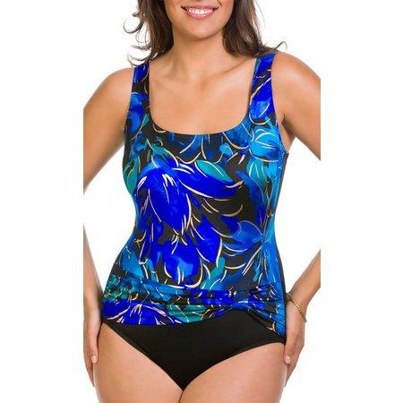 Longitude Womens Floral Fluter Splash One Piece Swimsuit