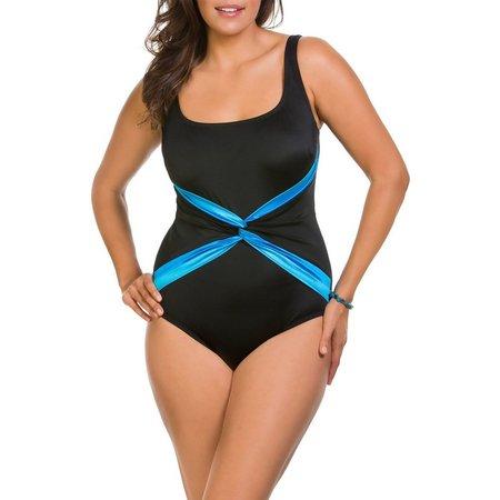 New! Longitude Womens Ribbon Sash One Piece Swimsuit