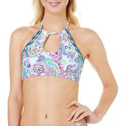 Ocean Avenue Womens Paisley Crop Bra Swim Top