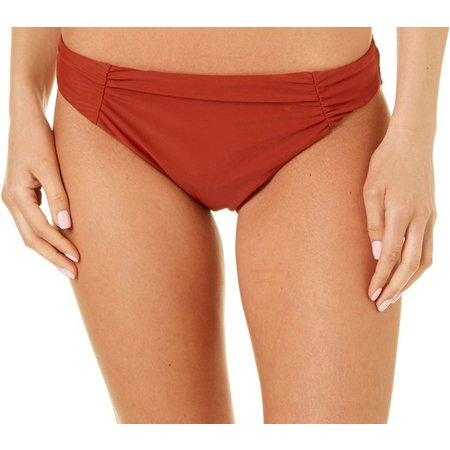 Aqua Couture Womens Shirred Solid Hipster Swim Bottoms