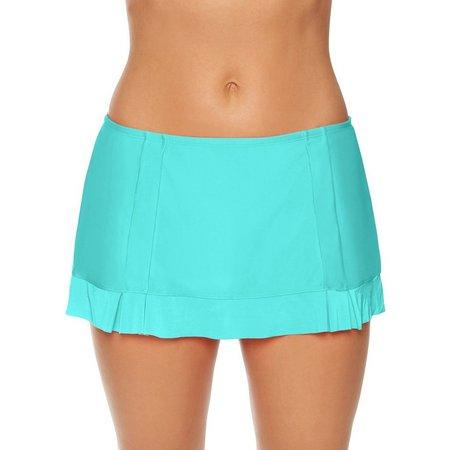 Aqua Couture Womens Solid Pleated Swim Skirt