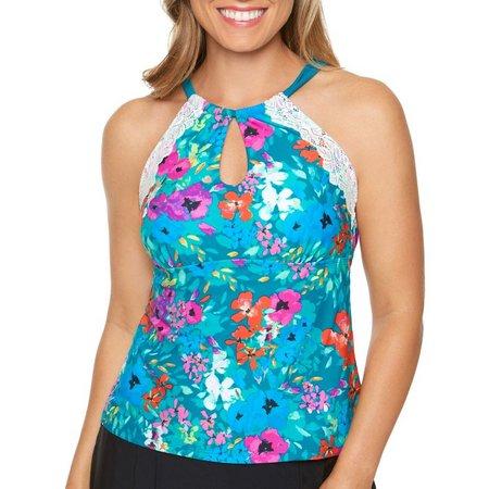 Aqua Couture Womens Fantasy Floral Tankini Top