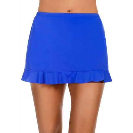 Caribbean Joe Womens Ruffle Hem Swim Skirt
