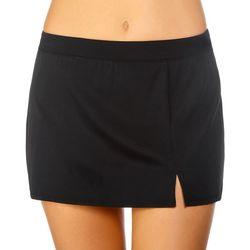 Caribbean Joe Womens Solid Side Slit Swim Skirt