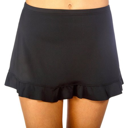 Caribbean Joe Womens Solid Ruffle Hem Swim Skirt