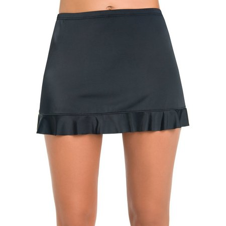 Caribbean Joe Womens Solid Ruffle Hem Swim Skirt