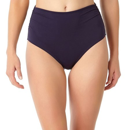Anne Cole Womens Shirred High-Waist Swim Bottoms