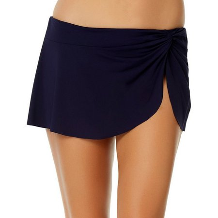 Anne Cole Womens Solid Wrap Sarong Swim Skirt