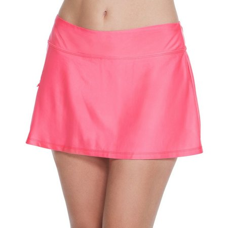 Beach Diva Womens Solid Side Zipper Pocket Skort