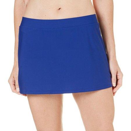 Beach Diva Womens Solid Side Slit Swim Skirt