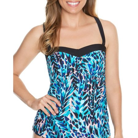 Beach Diva Womens Primal Instincts Molded Tankini Top