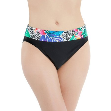 Beach Diva Womens Amazon Bloom Banded Swim Bottoms